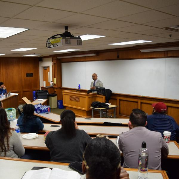 Dr. George Henderson speaking to OU Law students