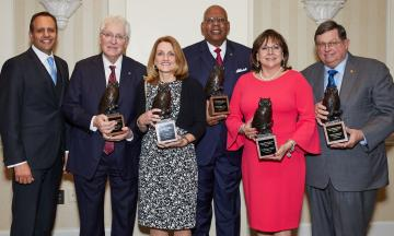 Members of the OU College of Law's Order of the Owl Class of 2019 pose for a photo with Dean Joseph Harroz Jr. Pictured left to right are Dean Joseph Harroz Jr., Robert H. Henry, Susan L. Lees, Stanley L. Evans, Susana Martinez and John D. Groendyke.