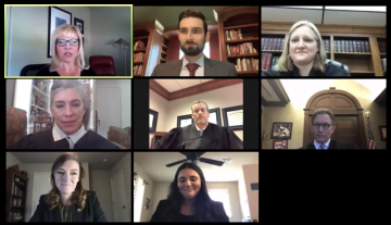 Screenshot of competitors and judges of the 1L Moot Court Competition hosted on Zoom