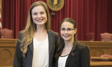 The 2018 1L Moot Court Competition Winners, Ashton Poarch and Taylor Peshehonoff
